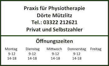 Öffnungszeiten Praxis für Physiotherapie Dörte Mützlitz